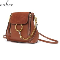 Caker Brand 2019 Women Genuine Leather Backpack Fashion Ring School Backpacks Anti Theft Ring Chain Bags Dropshiping