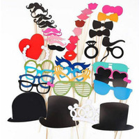 44 PCS Tricks Birthday Party Photobooth Props Free Shipping Wedding Photo Booth Props Marriage Mustache Party