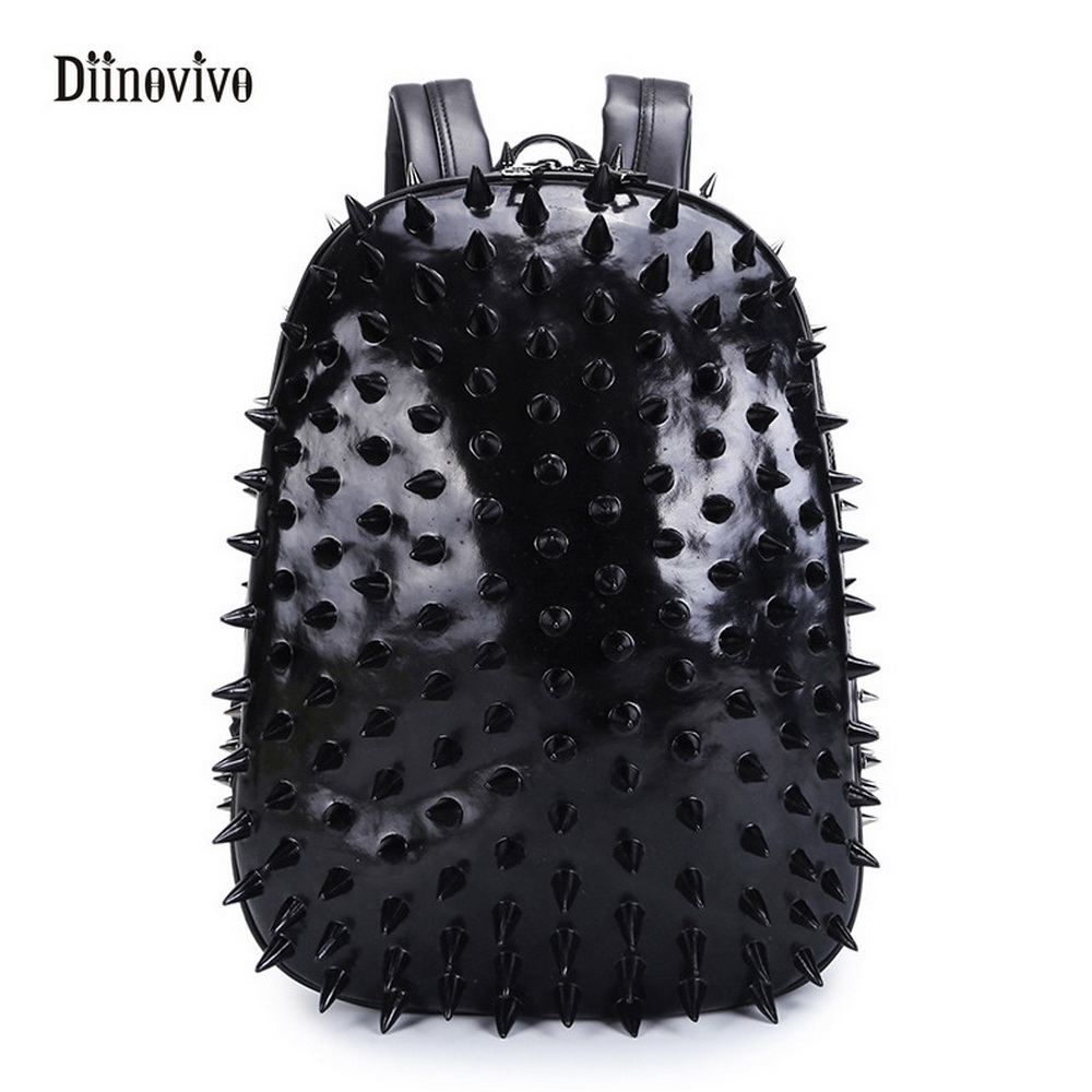 School bags for youth - Diinovivo New Fashion Thorn Women School Bags Youth Leather Student Travel Bag Punk Style Protective Backpack Bagpack Whdv0132