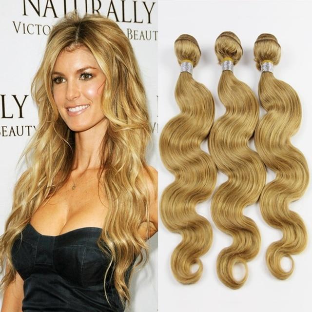 4pcs 7a Brazilian Body Wave Blonde Hair Extensions Honey Blonde