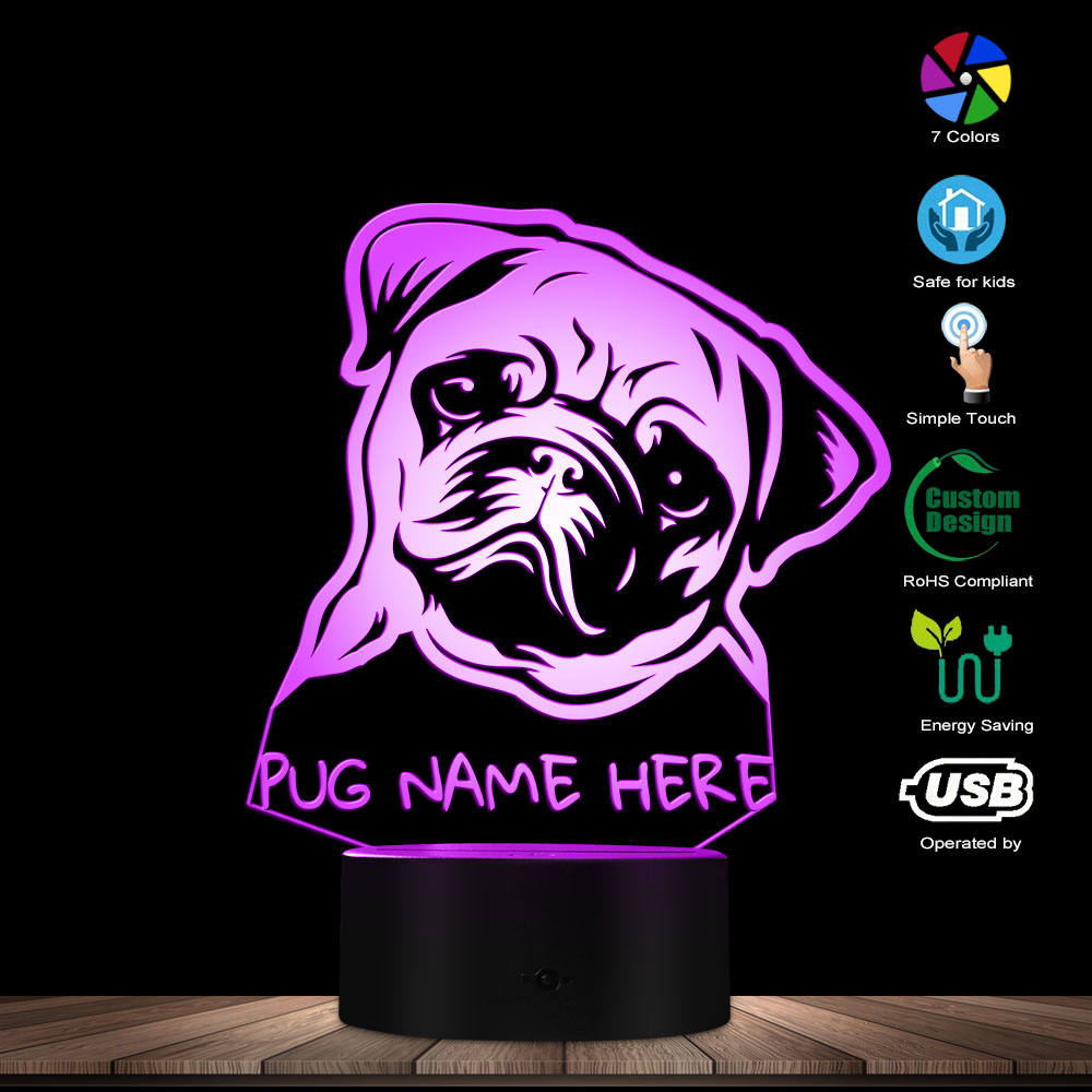 Custom Name Pug Portrait LED Night Light Pug Dog 3D LED Illusion Kid Room Desk Lamp With Color Changes Dog Lovers Memorial Gift