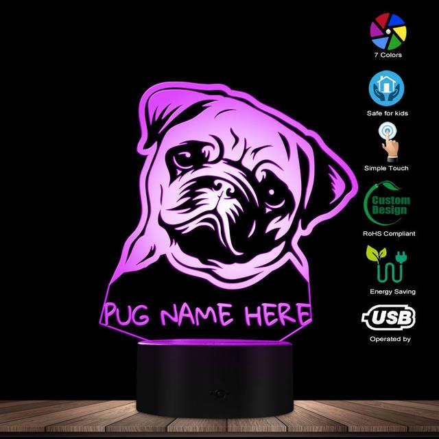 Nome personalizzato Pug Ritratto HA CONDOTTO LA Luce di Notte Pug Dog 3D LED Illusion Kid Camera Lampada Da Tavolo Con Cambiamenti di Colore Del Cane gli amanti del Regalo Memoriale