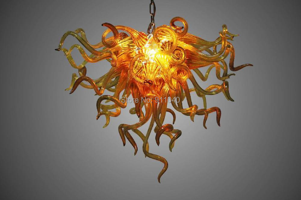 Ceiling Lights & Fans Modern Love Chandelier Triangle Size Amber Color 100% Hand Blown Glass Chihuly Led Chain Chandelier Chandeliers