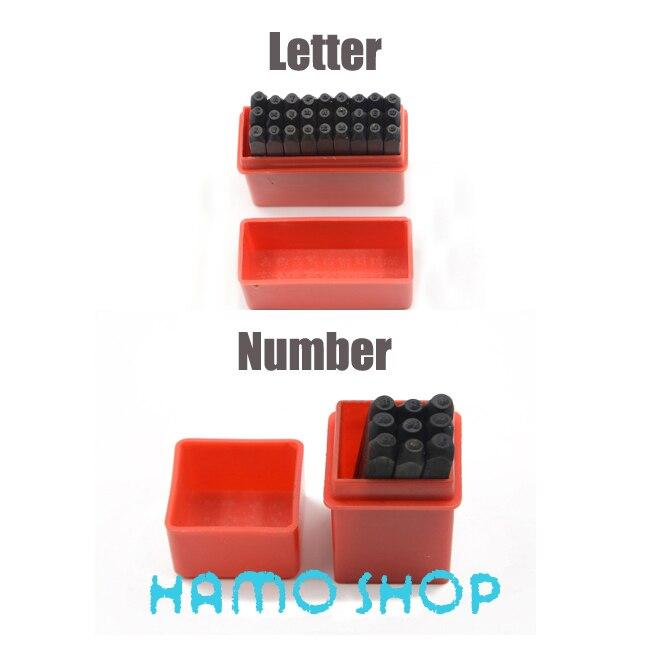 O Envio gratuito de Duas Caixas 6mm Selos Definir Soco Inglês Letra Do Alfabeto E Números Arábicos Die Ferramenta De Metal