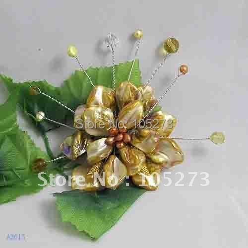 Красивая! Цветочная Брошь 8 см большой круглый цветок Модные женские ювелирные изделия жемчуг+ оболочка+ хрусталя Новинка FN2615