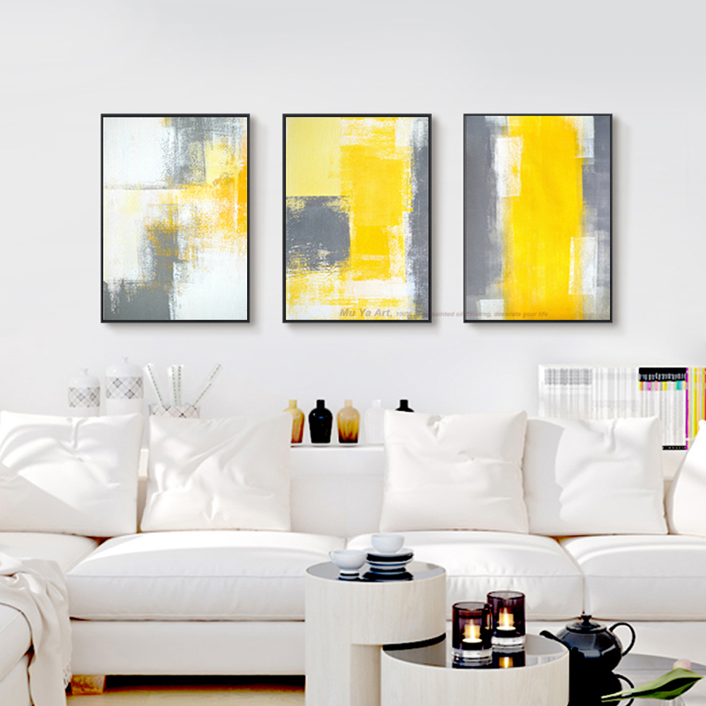 MUYA 3 piece canvas painting abstract oil painting handmade bright ...
