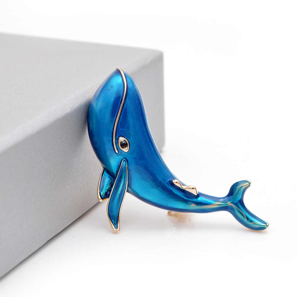Muda Tulip Besar Hiu Biru Bros untuk Wanita Laut Hewan Menawan Pin Indah Perhiasan Enamel untuk Teman Anak-anak Hadiah