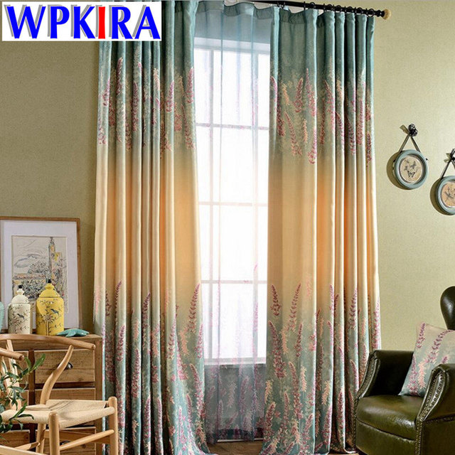 Europe American Floral Screens Lavender Print Shade Cloth Living Room  Window Curtain Panel Purple Curtains Sheer