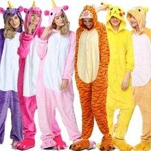 Unicorn Pajamas onesie Women Home Kugurumi panda Winter Flannel Pajama Kigurumi adult Nightie Stitch unicornio Sleepwear Overall