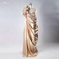 Rse718 шампанское Цветной Side Drapped юбка одно плечо вечернее платье