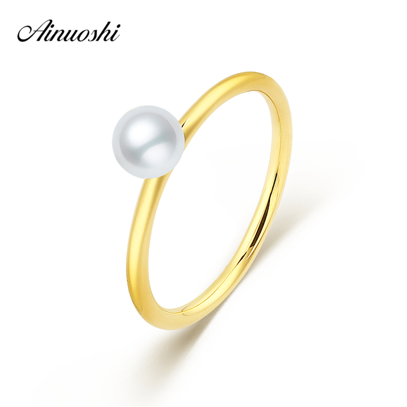 AINUOSHI 18K Yellow Gold Rings Natural Freshwater Pearl Rings Au750 Rose Gold Fine Wedding Brands Women Engagement Ring Jewelry