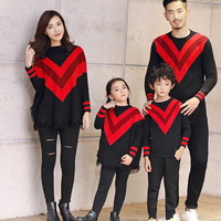 Matching family christmas sweaters mother and daughter clothes dress father and son tshirt red batwing sleeve knit tops princess