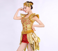 Gold white jazz dance clothes paillette modern sequins adult costume large stretch stage wear dance clothing set dancing dress