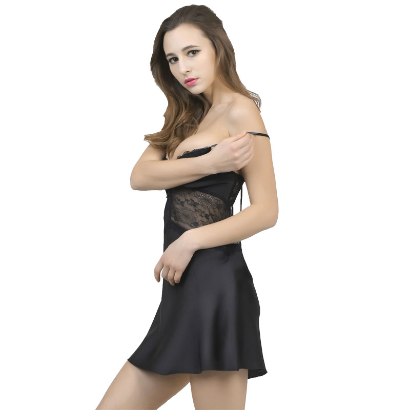 La MaxZa Women Lace Sleep Dress Sexy Silk Satin Nightgown Sleeveless Nightdress V-neck Nighties Night Shirt Sleepwear Nightwear