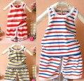 Новая весна 2017 мода лето дети дети комплект одежды мальчик новорожденных bebe нагрудник жилет шорты полосатый хлопок наряды