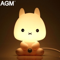 AGM Desk LED Night Lights Cartoon Pets Rabbit Panda Nightlight Kids Sleep Light Luminaria EU Plug