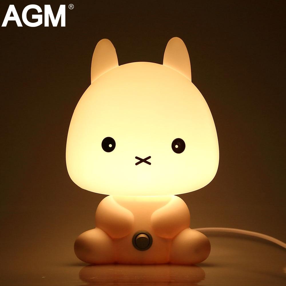 AGM Desk LED Night Lights Cartoon Pets Rabbit Panda Nightlight Kids Sleep Light Luminaria EU Plug Baby Bedroom Table Night Lamp