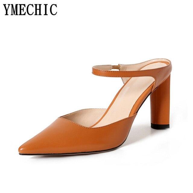 Ymechic 2018 Women Genuine Leather High Heel Shoes Black Apricot Orange Pointed Toe Slingbacks Office Career