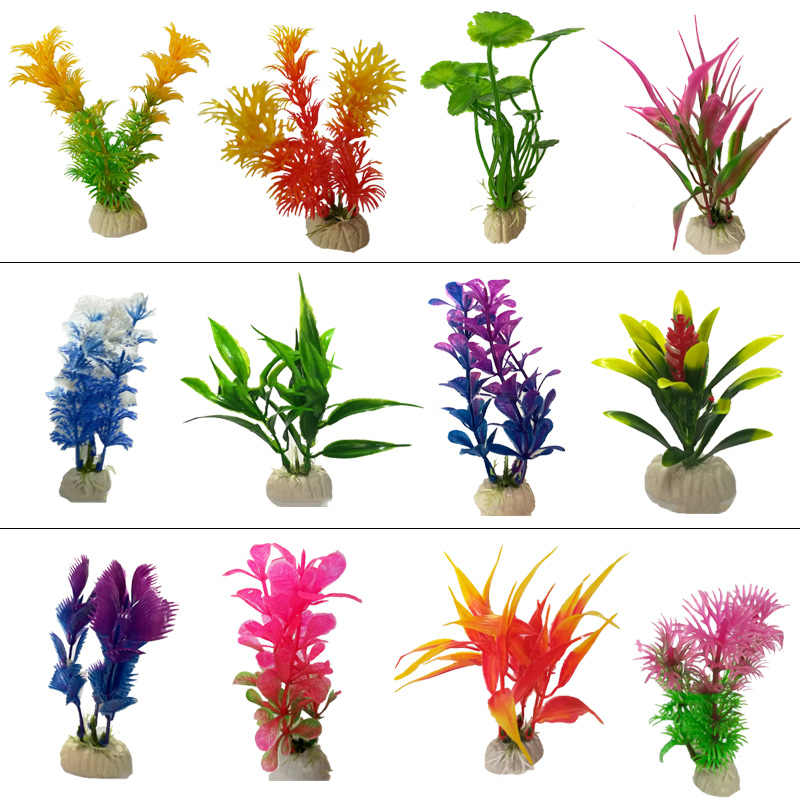 1pc Artificial Fish Tank Decorations Aquarium Artificial Plastic Plants Grass Ornament Decor Aquarium Landscape Submarine Flower