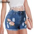 Bazaleas Summer Women Denim Shorts Cotton Plus Size Jeans Short Feminino Fitness High Waist Floral Embroidered Tassel Short Jean