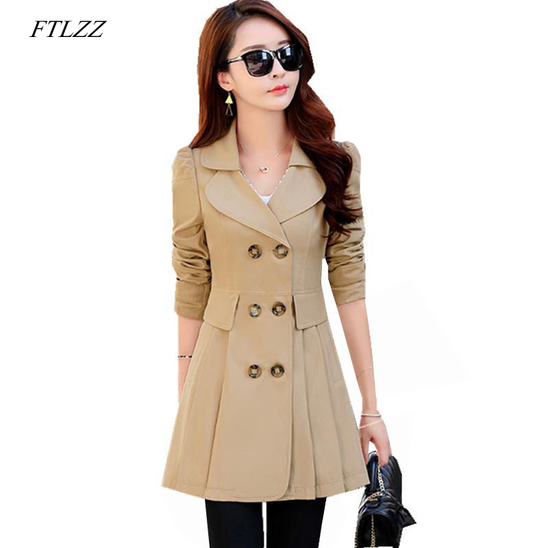 FTLZZ Plus Size 4XL   Trench   Coat Women Double-Breasted   Trench   Coat Autumn Casual Coats Female Slim Windbreaker Outwear