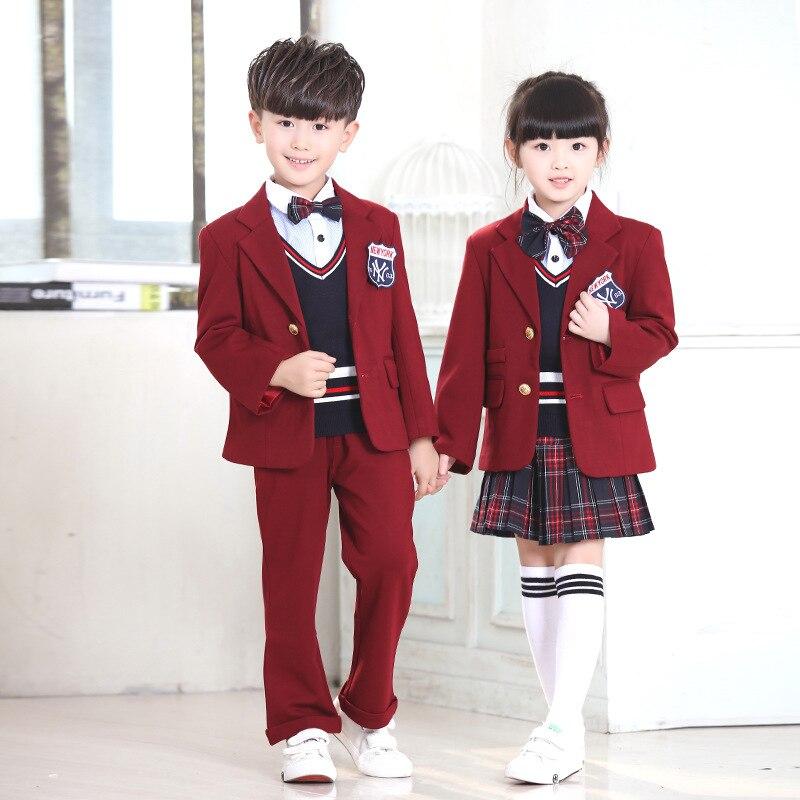 Nouvelle veste de costume à carreaux décontracté automne enfants école britannique uniformes scolaires personnalisés ensembles gilet vestes pantalon