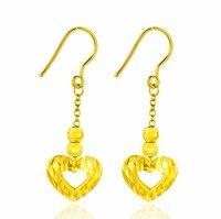 Модные однотонные 999 24 К желтого золота Серьги сердце Длинные Висячие серьги 4.1 г