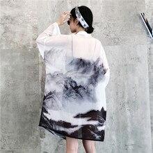 HARAJUKU chinese style digit print 2018 summer kimono cardigan feminino outerwear sun protection shirts womens (B1849)