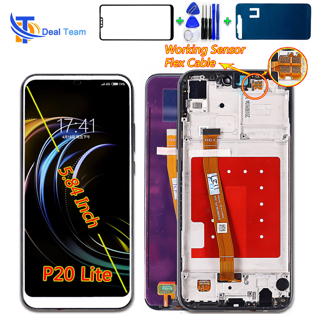 For Huawei P20 Lite 5.84 Inch IPS LCD Display Touch Screen For NOVA 3E Digitizer Assembly 2280*1080 MultiTouch With Free Tools