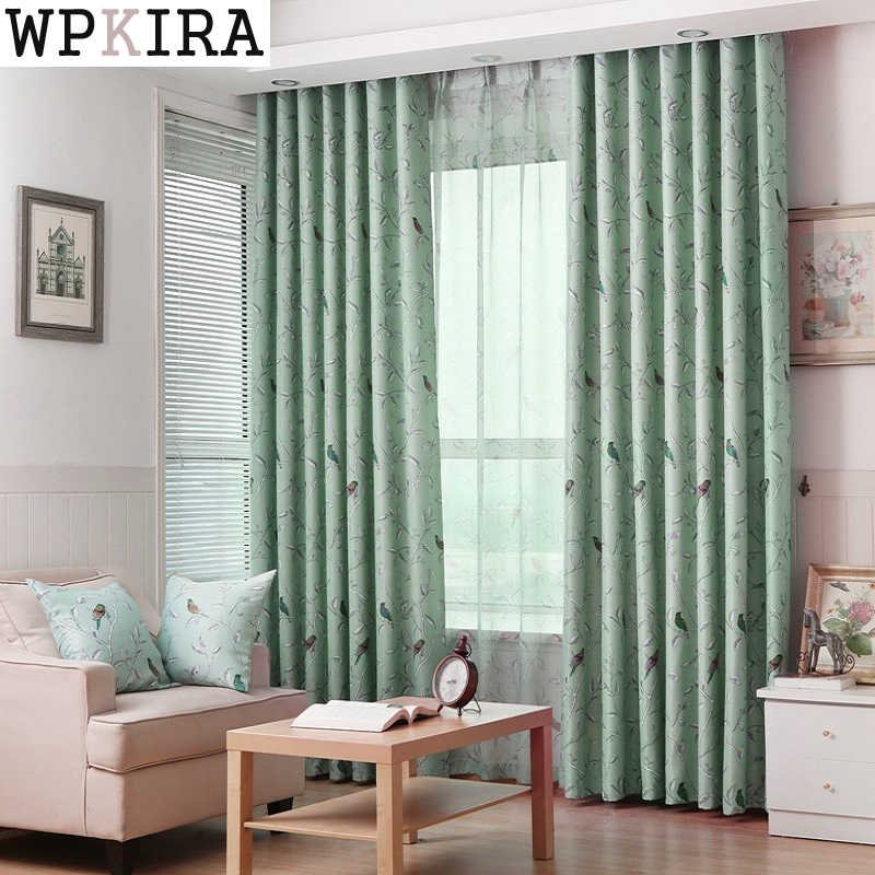 Rustic Flower Bird Blackout Coffee Curtains For Living Room Green Fabric Curtain For Kids Bedroom Cartoon Tulle Curtain 128&30