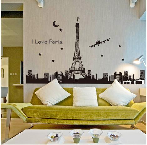 Pegatinas De Pared Paris Eiffel Tower Wall Stickers Home Decor Diy Star Glow Decals Landscape Country Vinilos Decorativos