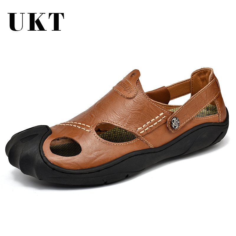 UKT Genuine Leather Men Sandals Fashion Male Summer Breathable Mens Shoes High Quality Beach Sneakers Sandles Big Size38-46 summer casual men s shoes fashion leisure beach men shoes high quality leather sandals the big yards men s sandals big size38 48