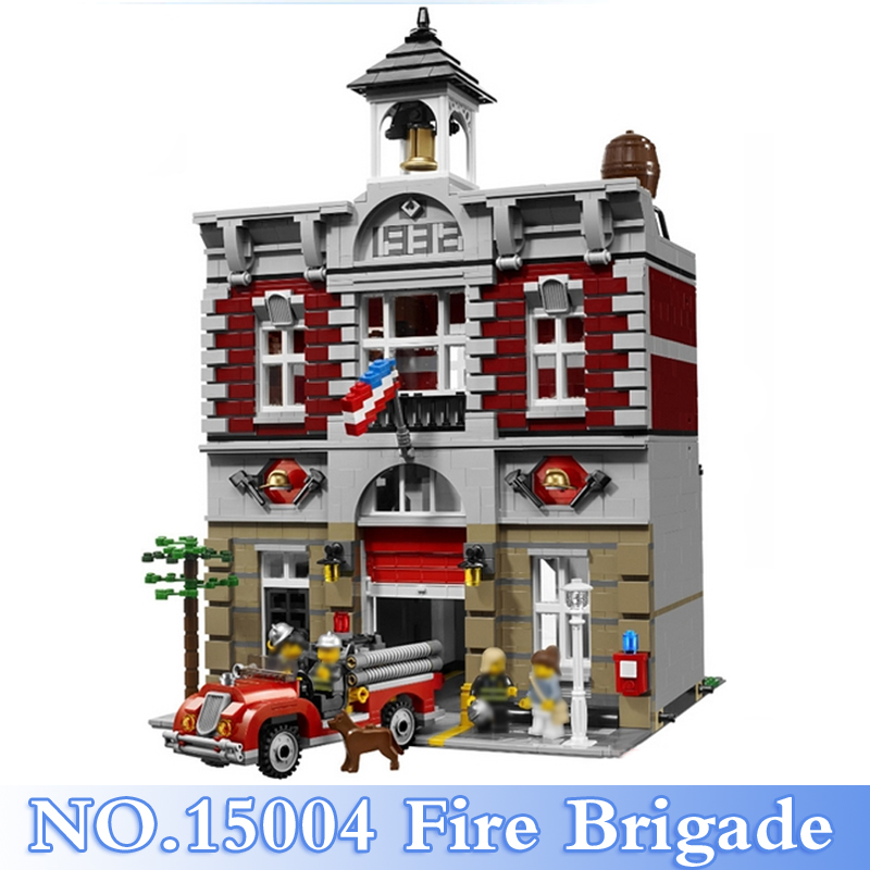 15004 Lepin City Series 2313Pcs Fire Brigade Figure Building Blocks Bricks Set Toy For Children Gift Model Kits Compatible 10224 lepin 15004 2313pcs city creator series fire brigade model building blocks bricks toys for children gift compatible 10197