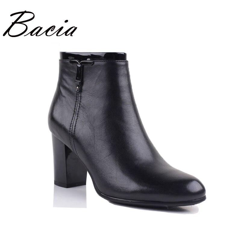Bacia/на низком каблуке Revit сапоги Для женщин зимние кожаные ручной работы из натуральной Короткая плюшевая обувь высотой до щиколотки мягкие ...