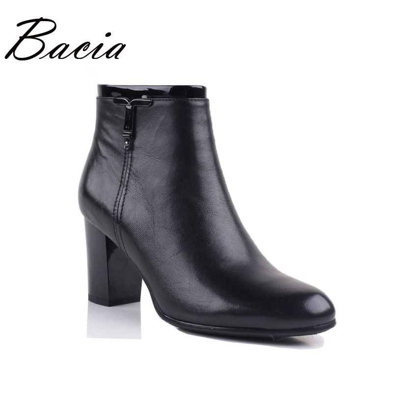 Bacia Low Square Heel Revit Leather Boots Winter Handmade Genuine Wool Fur Women's Shoes Ankle-high Soft Comfortable Boots VE003 bacia 2017 women winter boots casual super comfortable genuine leather boots female black warm wool fur shoes size 36 41 mb019