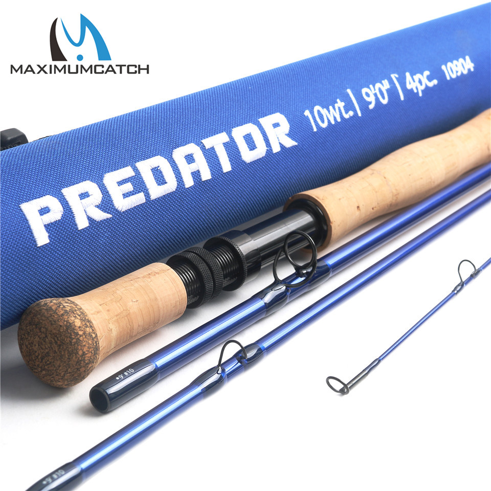Maximumcatch Predator 9FT 8wt/9wt/10wt/12wt Saltwater Fly Fishing Rod 4 Section 30T SK Carbon Fly Rod with Cordura Rod Tube
