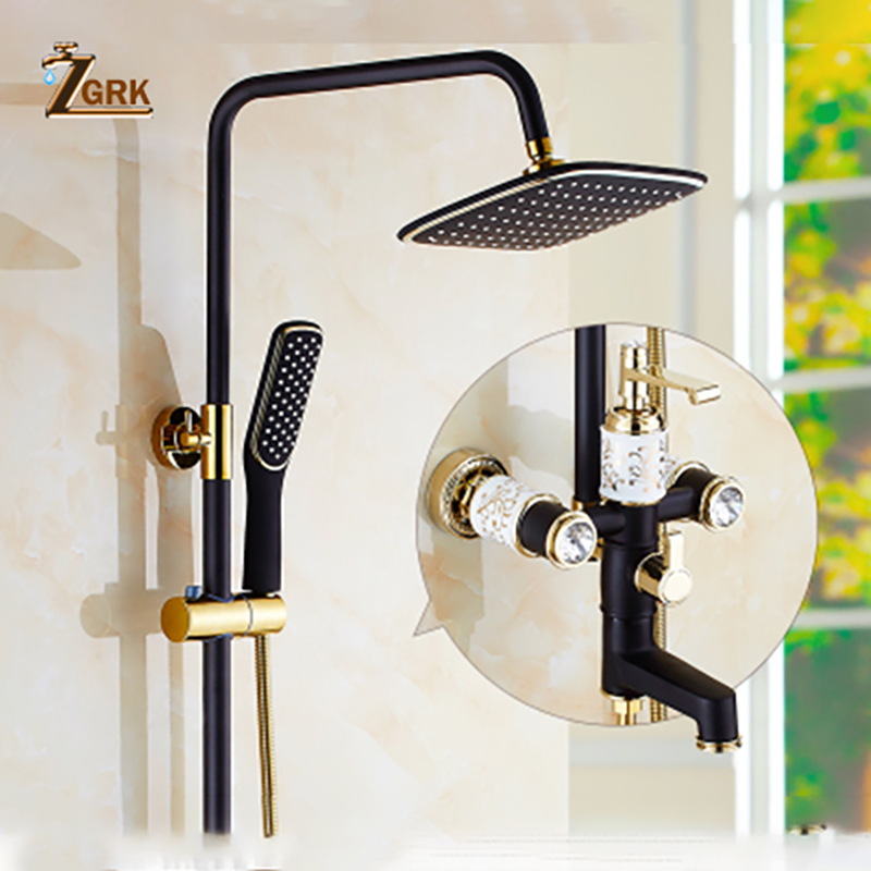 ZGRK New Brass Black Bath Shower Faucets Rain Shower Head Bathroom Shower Set Diverter Mixer Valve