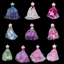 One Set New Arrival Handmade Layer Party Wedding Dress For  Princess Floor Length Doll Dress Clothing or Shoes