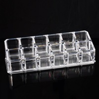 Clear Plastic Storage Container Acrylic Cosmetic Display Makeup Organizer Lipstick Holder 12 Space