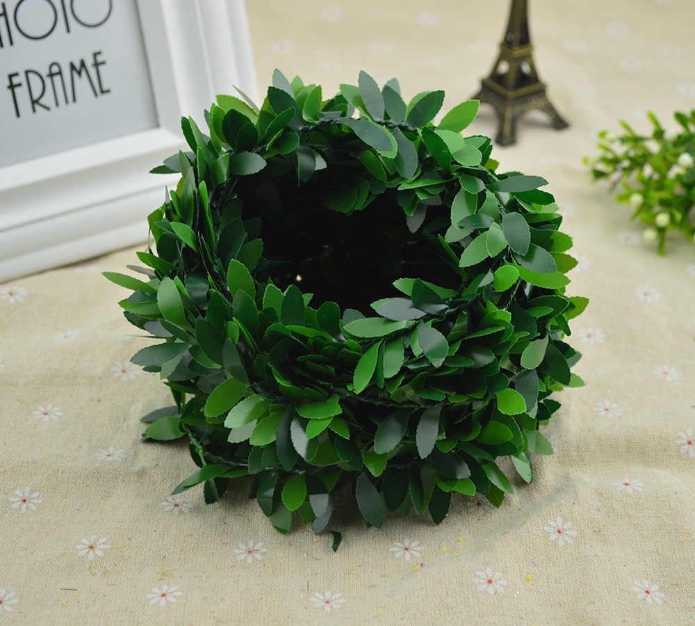 100 Cm/الكثير الحرير الورقة الخضراء وهمية البلاستيك الحديد الروطان إكليل عيد الميلاد للزينة ل حفل زفاف diy الطوق هدايا الزهور الاصطناعية