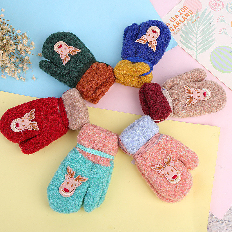 baby cartoon bear gloves winter children 39 s wool warm. Black Bedroom Furniture Sets. Home Design Ideas