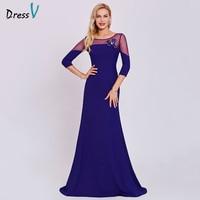 Dressv Blue Evening Dress Cheap A Line 3 4 Sleeves Scoop Neck Sweep Train Bowknot Wedding