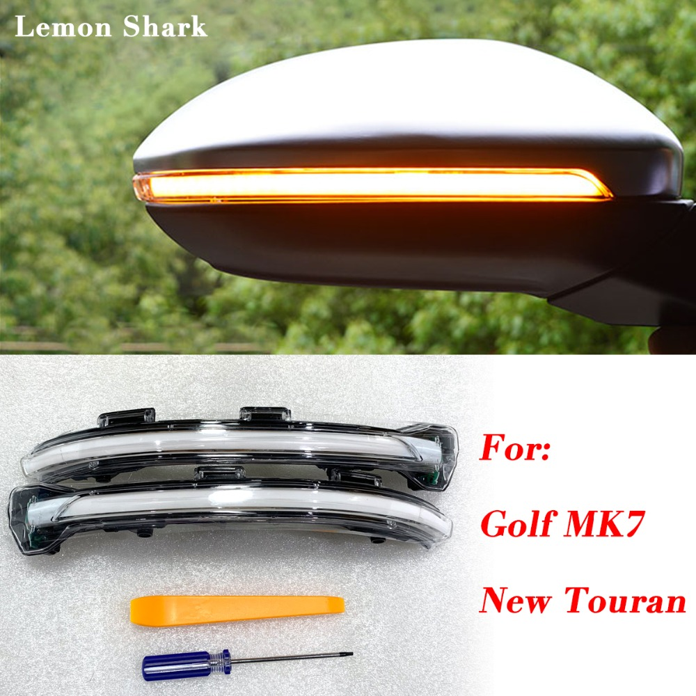 Здесь можно купить  LEMON SHARK LED Flowing Rear View Rear Side Mirror Water Turn Signal Light For  VW Golf 7 MK7 VII  GTI  7.5 New Touran  Автомобили и Мотоциклы