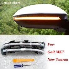 цена на LEMON SHARK LED Flowing Rear View Rear Side Mirror Water Turn Signal Light For  VW Golf 7 MK7 VII  GTI  7.5 New Touran
