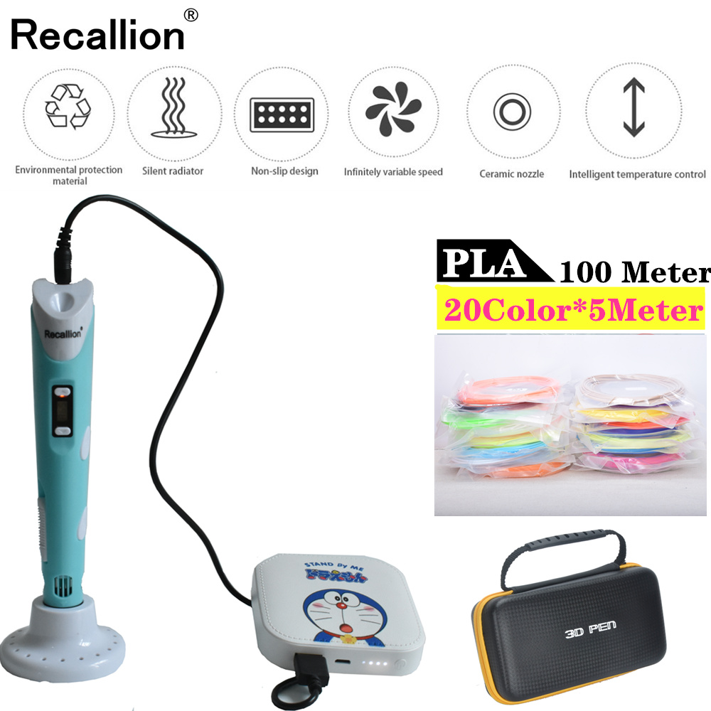 3D Pen 6000mAH Power Bank 100M 20Color PLA Filament 3D Printing Pen LED Screen Creative Toy Gift For Kids Design Drawing pen 3d in 3D Pens from Computer Office