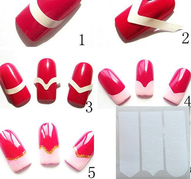 cut color nail stickers nail stickers French smile lines Nail companion