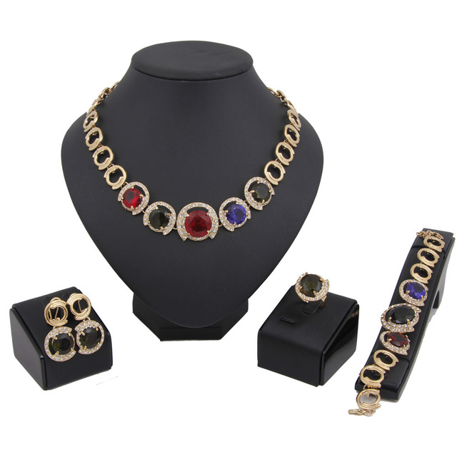 Wedding Bridal Costume Fashion Gold Plated Red Rhinestone Necklace Earrings ring Bracelet  Sets Jewelry Sets