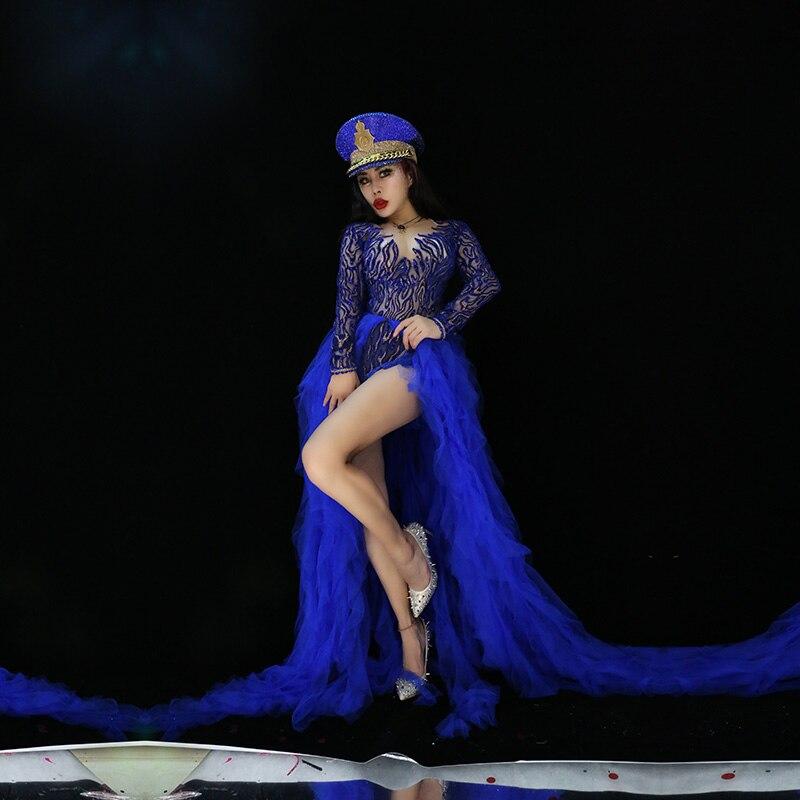 Strass combinaison femmes Sexy Performance grande dentelle queue body femme chanteuse barboteuses scène porter anniversaire danse porter combinaison