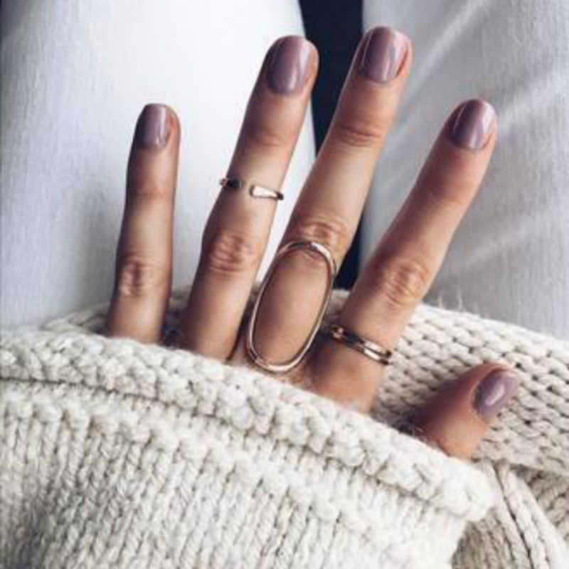 New Fashion Vintage Gold Geometry Hollow Ring Sets For Women Girl Joias Lord Of The Rings Joyme