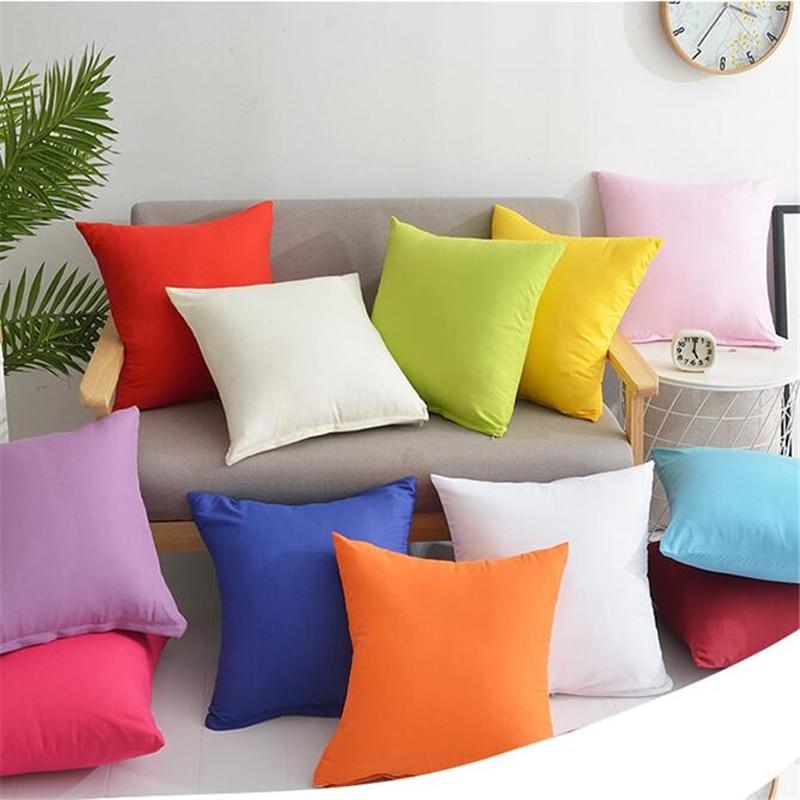 Candy Color Throw Pillow Case Covers Plain Pillowcase Cover Home Decor Cushion Cover 45x45cm Cotton